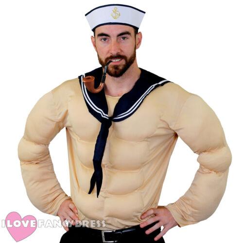 MENS STRONG SAILOR FANCY DRESS COSTUME MUSCLE CHEST 80S TV CARTOON SAILORMAN