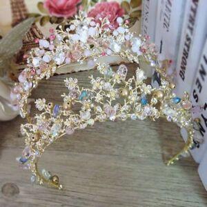 Crystal-Tiara-Queen-Bridal-Crown-Bride-Rhinestone-Hair-Headband-Pageants-Wedding