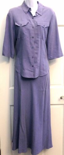 Coldwater Creek Womens Silk Skirt Set Lavender Blo