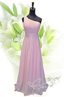 One Shoulder Chiffon Bridesmaid Prom Evening Dress