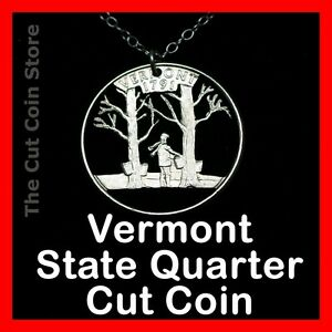 Vermont-Maple-Syrup-25-VT-Quarter-Hand-Cut-Out-Coin-Charm-Necklace-Tapping