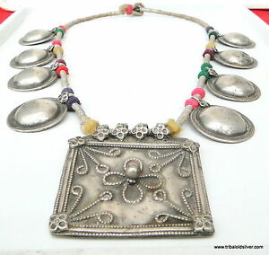 Rare vintage antique ethnic tribal old silver necklace pendant image is loading rare vintage antique ethnic tribal old silver necklace aloadofball Gallery