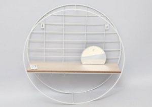 Circular-Metal-Wire-White-Wooden-Shelf-Unit-With-Hooks-amp-Mirror-Organizer-Holder