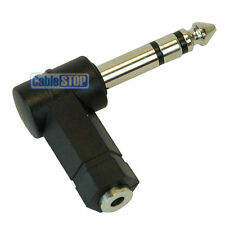 STEREO 3.5mm Socket to 1/4 Inch 6.35mm Jack Right Angled Audio Headphone Adapter
