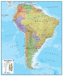 Poster south america map political vertical format 39 38x47 316in image is loading poster south america map political vertical format 39 gumiabroncs Choice Image