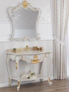 Console meuble salle de bain avec miroir eleonor style - Meuble de salle de bain style baroque ...