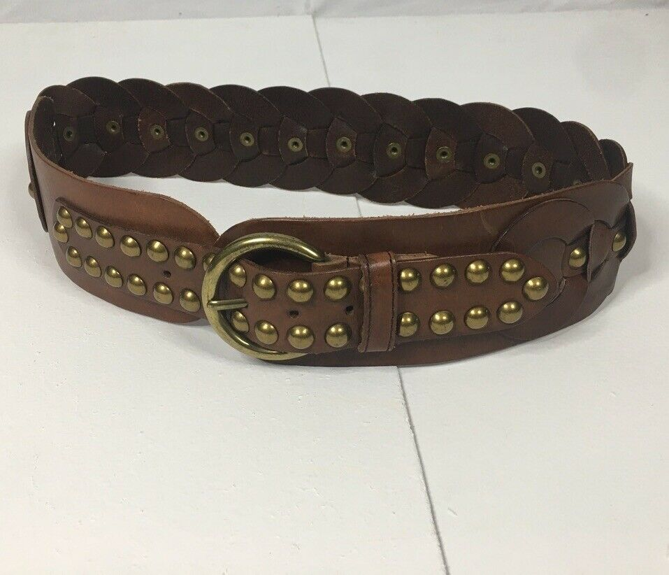 Unbranded Women's Leather Chain Fashion Belt ~ Brown ~ Brass Stud Detailing