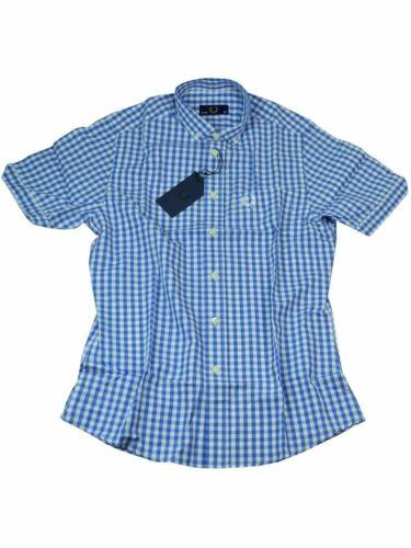 Weiß #6129 Fred Perry Button-Down Kurzarmhemd M9198 139 Blau