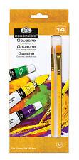ROYAL LANGNICKEL 12 Gouache PAINT TUBE Colors BONUS 2 Brushes Art Painting