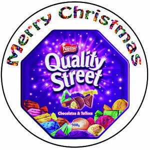 Details About Christmas Cake Topper Quality Street Precut Round 8 20cm Icing Decoration