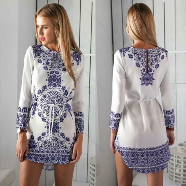 Summer Sexy Women Long Sleeve Party Dress Evening Cocktail #S Casual Mini Dress