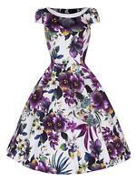 50s Retro Vintage Purple Pansy Print Party Swing Rockabilly Jive Dress 8 -26