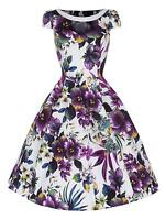 50s Retro Vintage Purple Pansy Print Party Swing Rockabilly Jive Dress 8 -26