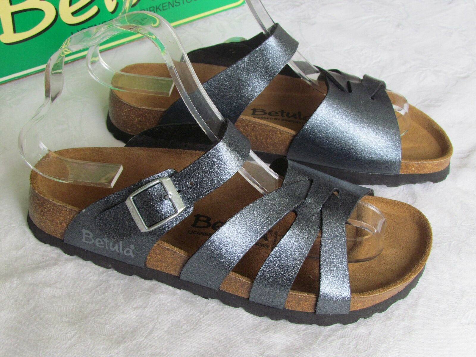 Último gran descuento NEW Betula By Birkenstock Ladies Pearl Anthracite Grey Silver Sandals Size 4.5