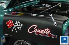 Black Fender Gripper Protective Cover With Flag Logo For Chevrolet Corvette C2