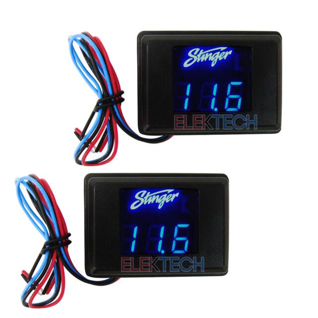 Set of Two-2 Stinger SVMB Voltmeter 3-Digit Blue LED Voltage Display Gauge Meter