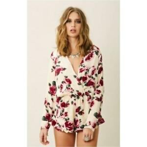 54005a00263 Stone Cold Fox Love Romper Rose Flower Floral shorts Playsuit 1 XS S ...