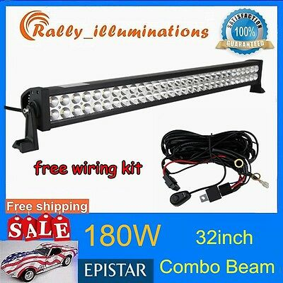 HOT 32INCH 180W LED WORK LIGHT BAR COMBO BEAM OFFROAD UTE 10-30V+FREE WIRING RLY