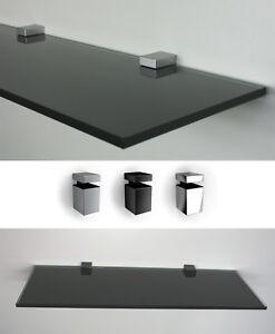 10 mm glasregal schwarzes glas 60 cm breit clip block in 3 farben wandregal ebay - Wandregal 60 cm breit ...