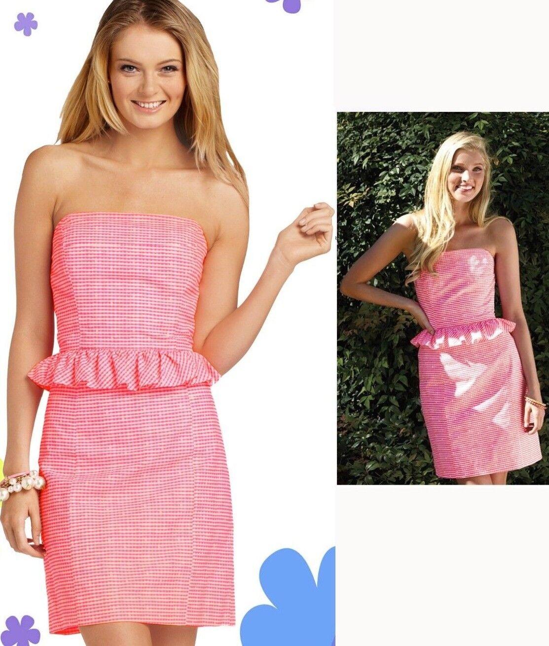 188 Lilly Pulitzer Lowe Fiesta Pink Pretty Gingham Strapless Peplum Dress