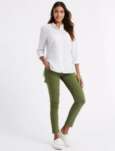 New-Ex-M-amp-S-Ladies-Cotton-Rich-Soft-Touch-Skinny-Cargo-Trousers-Jeans
