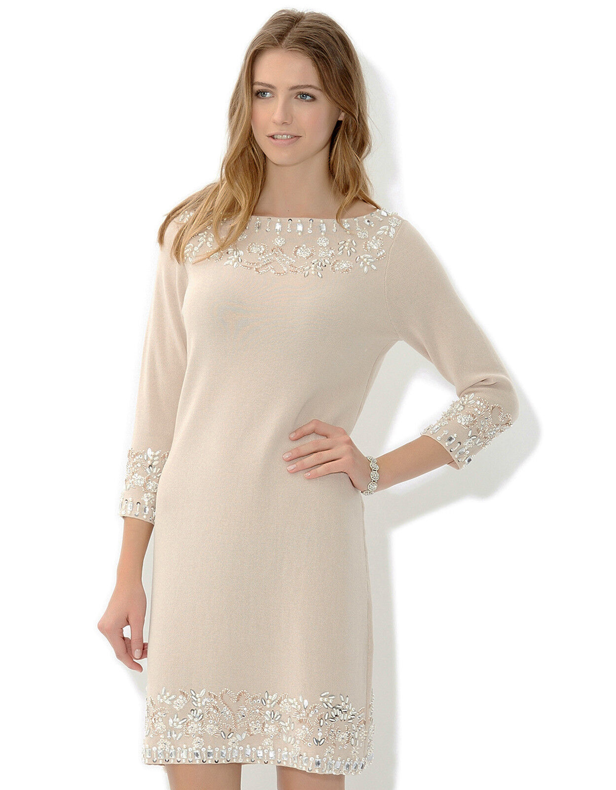 UK 12 MONSOON Nude Imelda Sequin Hem Mother Of The Bride Knit Tunic Dress