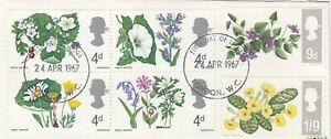 (84750) GB Used Flowers non-phosphor 1967 ON PIECE