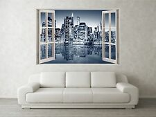 NEW YORK GRIGIO 1 scena 3d Full Color Finestra Casa Wall Art Decalcomania Murale Adesivi
