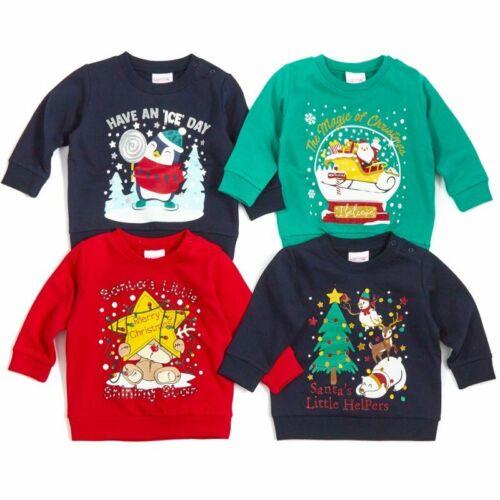 Babies Christmas Fleece Sweatshirts Jumpers 4 designs 6-24 months BNWT