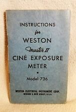 Original Manual for Weston Master II Cine Exposure Meter Model 736