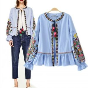 Womens-Ethnic-Style-Floral-Embroidered-Tassel-Shirt-Tunic-Striped-Tops-Blouse