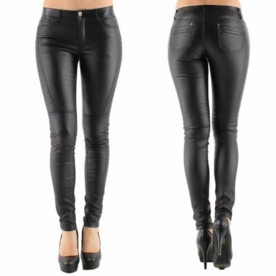 Hart Arbeitend Womens Quality Black Leather Look Stretch Jeans Biker Goth Style Uk 6 - 16 Professionelles Design