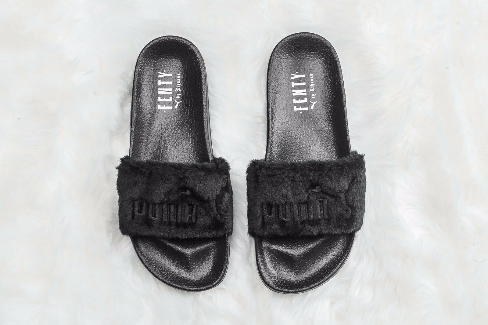 Womens PUMA X RIHANNA  FENTY BLACK SLIDE Sandal Shell Silver GLOBAL SHIPPING