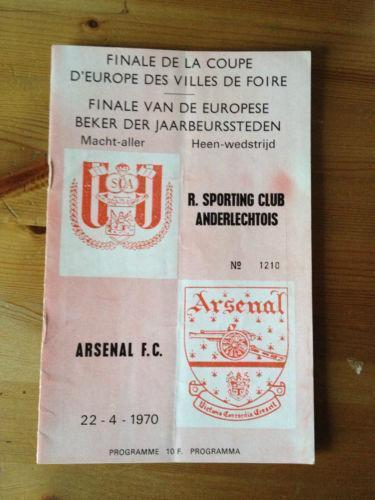 Programme Anderlecht Belgium v Arsenal London 1970 FAIRS CUP FINAL Brussels