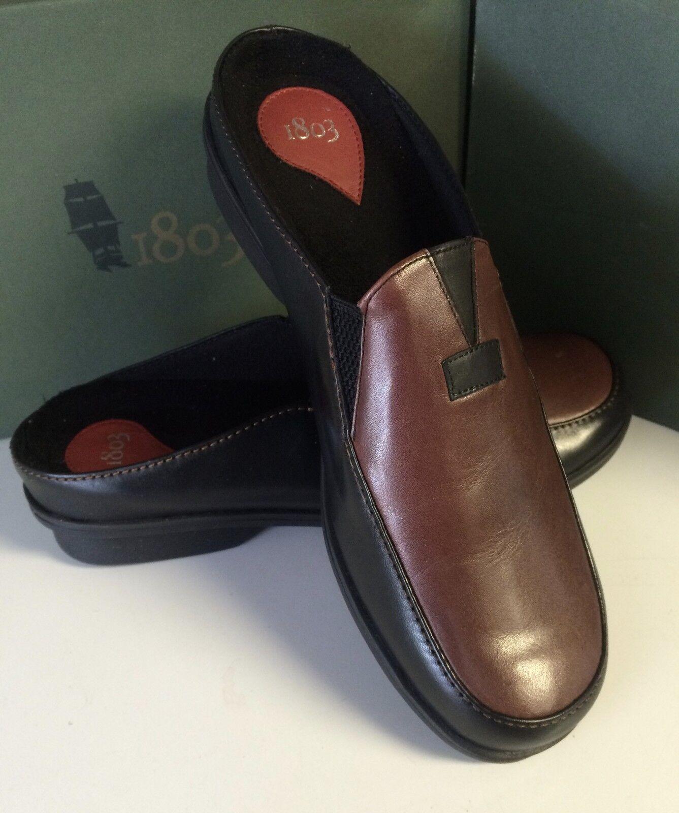 1803  femmes CLOVIS CLOG noir marron LEATHER Taille 41 (10 10.5)
