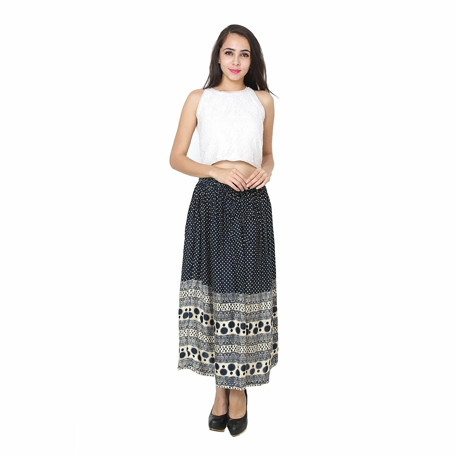 Girls bluee Printed Long Skirt For Casual Stylish Wear For Women's Daily Wear