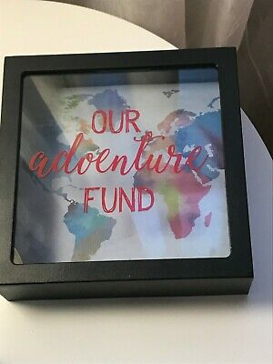 """Our Adventure Fund Coin Bank """"Shadow Box"""" 6/"""" x 6/"""" Picture Frame Pre-owned"""