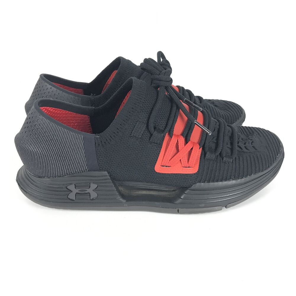 Under Armour Amp Noir Rouge Hommes Taille 10 Croix Training Chaussures Baskets