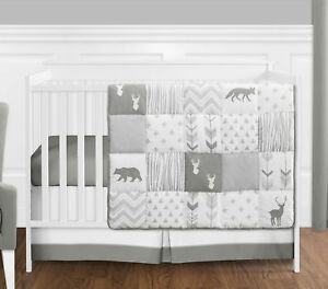 Details About Sweet Jojo Gray White Woodland Animal Baby 4p Crib Bedding Set Without Per