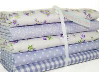 Fat Quarter Bundle - Lilac Florals, Spots & Gingham- Polycotton Fabric Remnants
