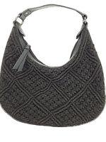 Ann Taylor handbag Loft black leather and macrame knotted cord small hobo