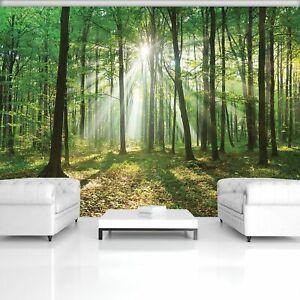 Wall Mural Photo Wallpaper Art EASY-INSTALL Fleece Green Daylight Forest Decor
