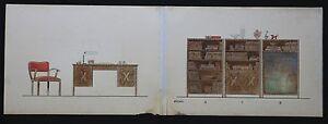 Dessins De Mobilier Années 1940 Par Brüno 27x154 Cm Art Deco Architecte Forme éLéGante