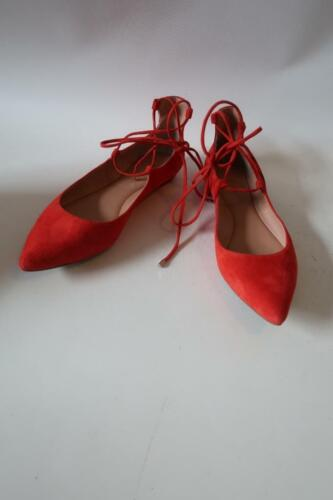 WOMENS SIGERSON MORRISON RED SUEDE FLAT ANKLE WRAP