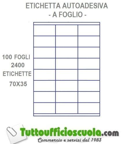 1 CONFEZIONE 2400 ETICHETTE ADESIVE 100 FOGLI A4 70 X 35 STAMPANTE LASER INK JET