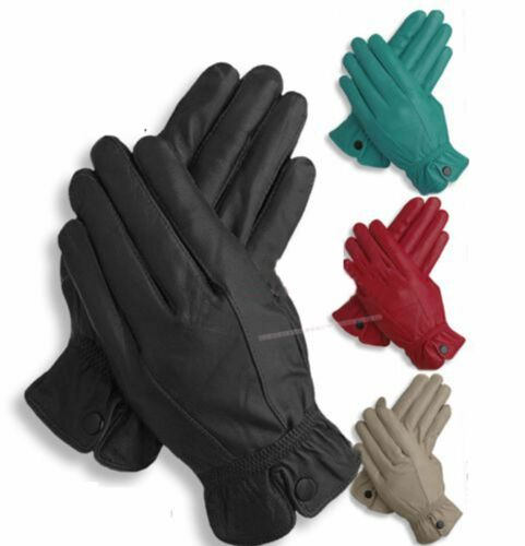 Womens Ladies Black Red Teal Mink Soft Real Leather Gloves S M L XL