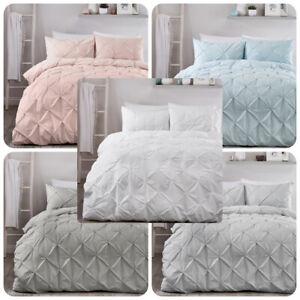 Serene-LARA-Pleated-Duvet-Cover-Set-Bedding-White-Pink-Grey-Silver-Duck-Egg