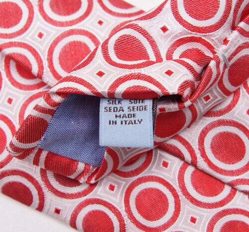 NWT $265 BATTISTI NAPOLI Hidden Pocket Silk Tie Red-White Circles Made in Italy