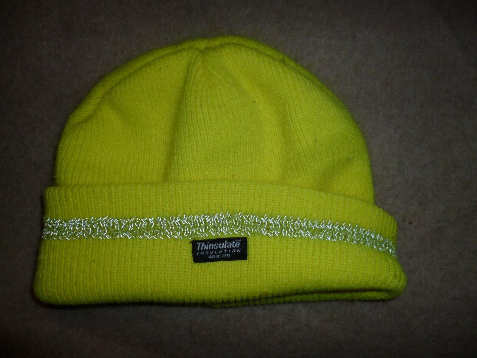 Gelbe Neon Mütze Herren 40gram, Thinsulate Insulation, Reflektband