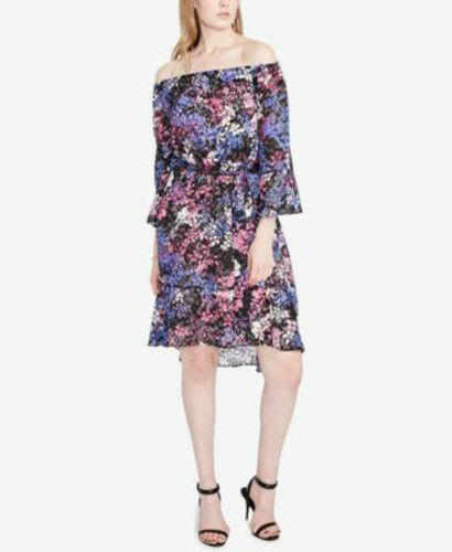 Rachel Roy Off The Shoulder Dress Purple Floral Belted size XXL New